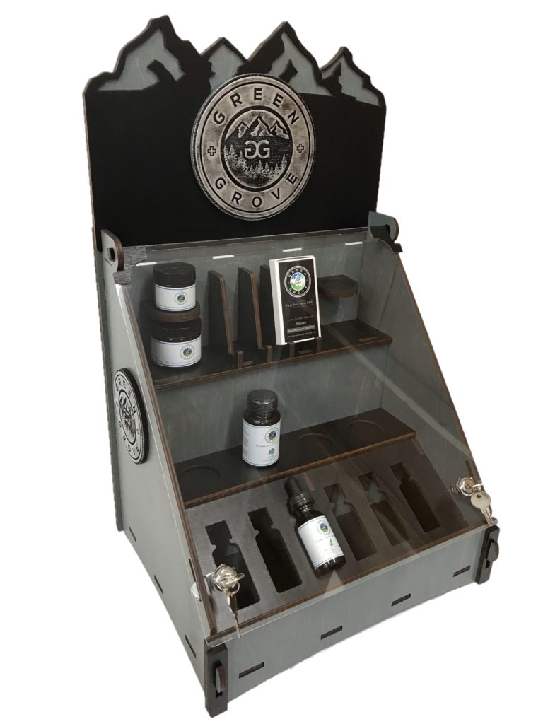 WoodLab Designs Faux Metal Medallion Green Grove CBD Custom Display with Locking Lid & precise packaging inserts