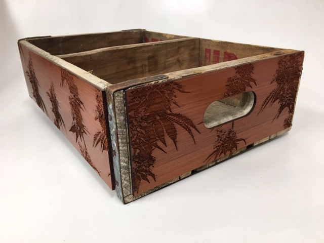 WoodLab Designs Laser Etched Redwood Panels attached to an Antique Wood Crate