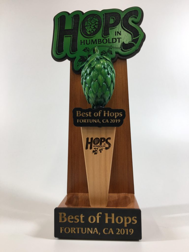 WoodLab Designs Best of Hops in Humboldt 3D Printed Hop Tap Handle Recognition Award