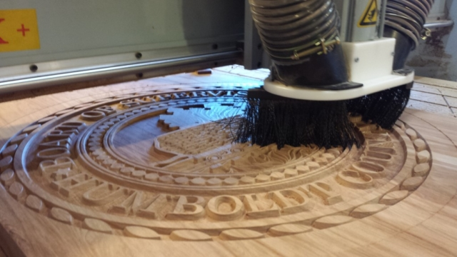 WoodLab Designs CNC progress for Board of Supervisors Emblem