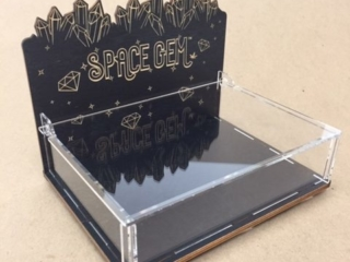 WoodLab Designs Laser Cut Plexi Taster Tray Box for Space Gem Non Medicated Samples Wood Cannabis Display
