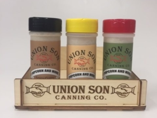 WoodLab Designs Laser etched Baltic Birch Plywood Gourmet Seasoning Old Fashion Display for Union Son Canning Company
