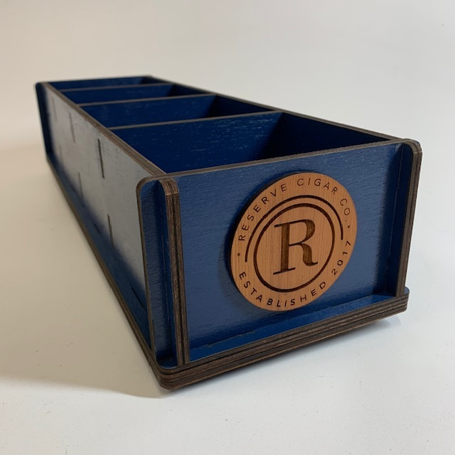 WoodLab Designs Custom Painted Wood Cigar Display with laser etched Redwood medallions