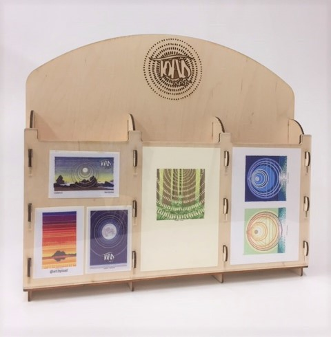 WoodLab Designs Custom Laser Etched Baltic Birch Greeting Card and Sticker Display for Toad Art