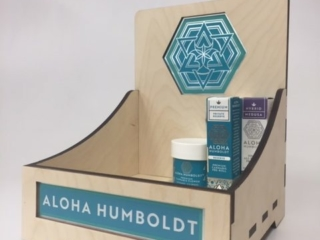WoodLab Designs Baltic Birch Pre-Roll and Flower Jar Wood Cannabis Display with Vinyl Wrap Accents for Aloha Humboldt
