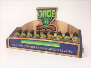 WoodLab Designs Jade Nectar Hickory CBD and Cannabis Tincture Display with Vinyl Wraps, Wood Cannabis Display