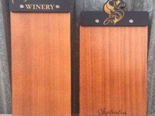WoodLab Designs Septentrio Winery Tasting Room Menu Boards made from upcycled Redwood and laser etched Baltic Birch plywood