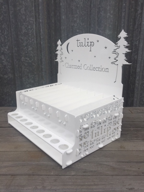 WoodLab Designs Laser Cut White Acrylic Custom Display for Tulip Perfume Beauty and Wellness