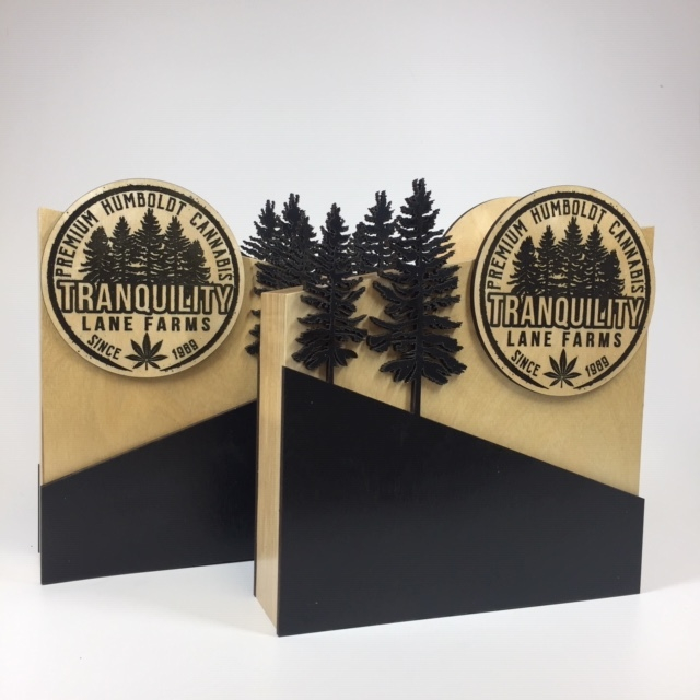 WoodLab Designs Tranquility Lane Farms Wood Cannabis Display Signs