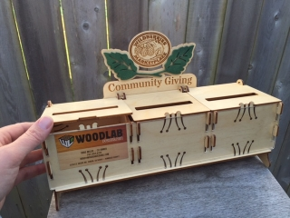 WoodLab Designs Grocery Check-out Donation Boxes with Cause Display Windows