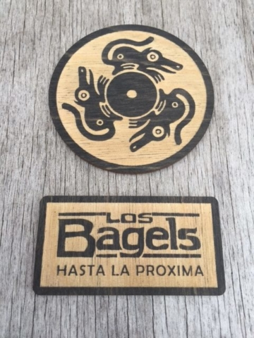 WoodLab Designs Los Bagels Display logos
