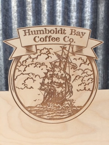 WoodLab Designs Humboldt Bay Coffee Display Laser Etched Logo