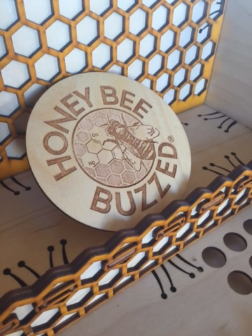 WoodLab Designs Laser Etched logo on layered Honeycomb display