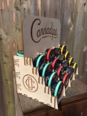 WoodLab Designs Cannadips Prototype Point of Sale Display with hidden back stock storage