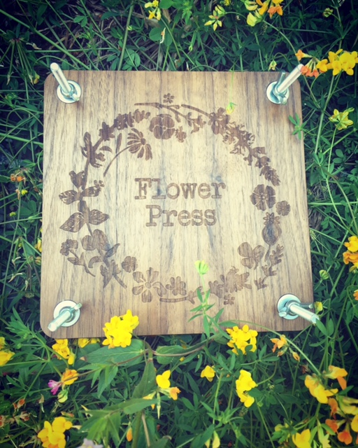 WoodLab Designs Walnut Veneer Laser Etched Baltic Birch Ply Organic Flower Press