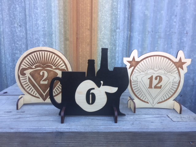 WoodLab Designs Wood Pie & Cider Tap House Table Service Numbers