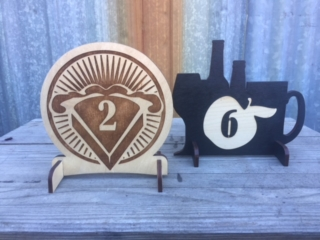 WoodLab Designs Custom Wooden Pie & Cider Tap House Table Service Numbers