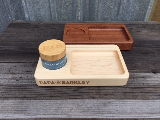 WoodLab Designs Papa & Barkley Medicinal Cannabis Releaf Balm Display with tester tray