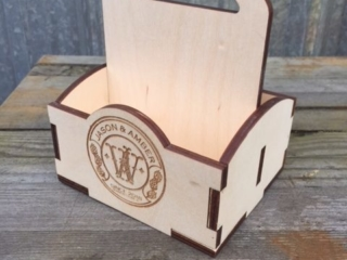 WoodLab Designs Baltic Birch Plywood Laser Etched Custom Wedding Gift Coaster Box Personalized Tote