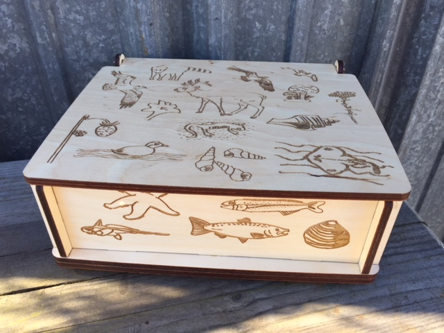WoodLab Designs Fuente Nueva School Auction Fundraiser Box with Student Artwork