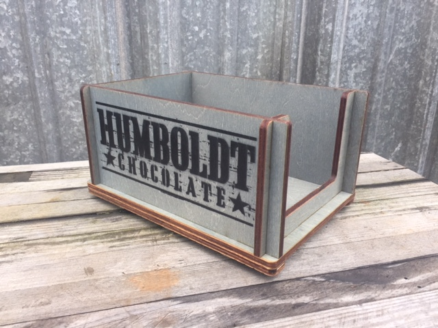 WoodLab Designs Stained Wood with Stenciled Logo for Humboldt Chocolate Slug Display Bin