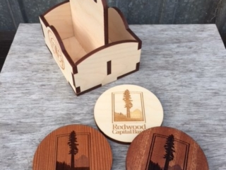 WoodLab Designs Redwood Capital Bank custom Coasters with Felt Bottom in Baltic Birch Plywood, Redwood, Sapele