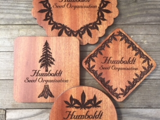 WoodLab Designs Humboldt Seed Organization Custom Sapele Coasters with Felt Lined Bottoms Craft Cannabis Seed Cultivators