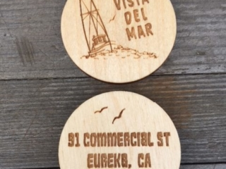 WoodLab Designs Vista del Mar Double Sided Bar Drink Token prototype in Baltic Birch Plywood