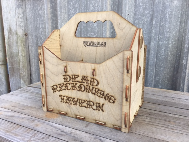 WoodLab Designs 6-Pack Beer Carrier with Custom Branding for Dead Reckoning Tavern