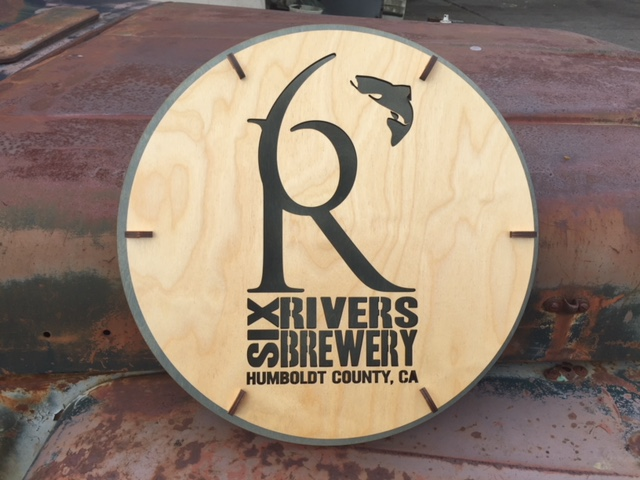 WoodLab Designs Custom Baltic Birch Six Rivers Brewery LED Wall Sign Prototype
