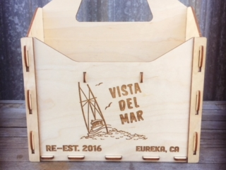WoodLab Designs Custom Baltic Birch Vista del Mar 6-Pack Beer or Condiment Carrier