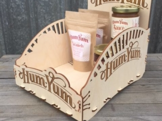 WoodLab Designs Hum Yum Caramels Baltic Birch Countertop Display for sauce and candies