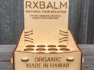 WoodLab Designs Organic Pain Reliever Tube Display made from Laser Etched and Laser Cut Natural Baltic Birch