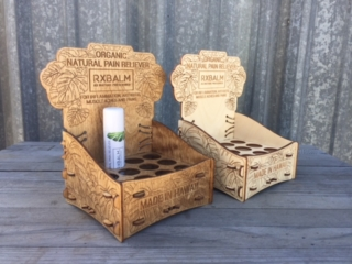 WoodLab Designs Organic Pain Reliever Tube Display made from Natural Baltic Birch