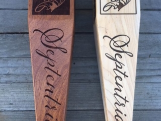 WoodLab Designs Septentrio Winery Sapele & Maple Hand Shaped Laser Etched Tap Handles