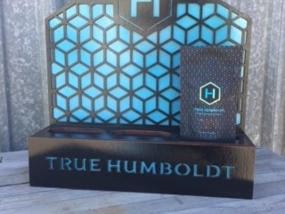 WoodLab Designs Laser Etched Black & Blue Stained Baltic Birch Plywood Display for True Humboldt Cannabis Flower Bags