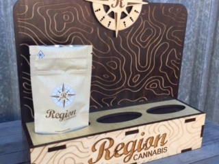 WoodLab Designs True Humboldt Region Cannabis Flower Bag Wood Cannabis Display made from laser etched stained & natural Baltic Birch Plywood