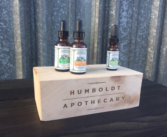 WoodLab Designs Humboldt Apothecary Laser Etched Wood Block Display