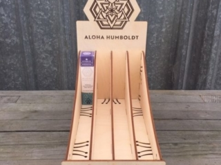 WoodLab Designs Laser Cut & Etched Display for Aloha Humboldt Cannabis Pre-rolls