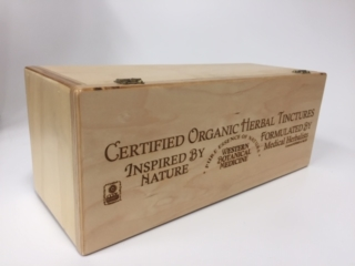 WoodLab Designs Custom created Baltic Birch Laser Etched Herbal Tinctures Label Dispensing Box