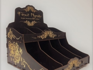 WoodLab Designs Forest Nymphs Chocolate Stain & Ivory Etching Soap Display