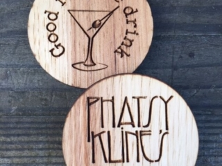 WoodLab Designs Custom Hickory Laser Etched Drink Tokens for Phatsy Kline's Parlor Lounge & Bar