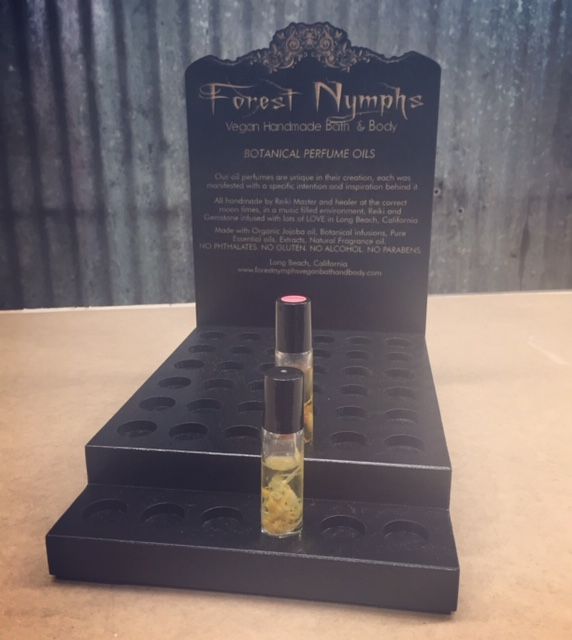 WoodLab Designs Custom Perfume Roll On Display Stained Black Oak CNC shaped laser etched