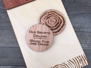 WoodLab Designs Hickory Drink Tokens & mixed media Credit Card Receipt Boards for Old Growth Cellars Wine Bar