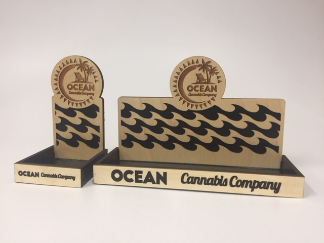 WoodLab Designs Custom Baltic Birch Plywood Displays for Ocean Cannabis Company with Ocean Wave Cutouts