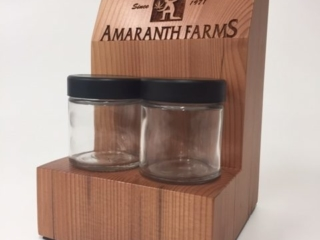 WoodLab Designs Amaranth Farms Flower Jar Display made from upcycled Redwood