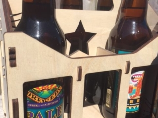 Laser Cut 6 22 oz Beer Bottle Reusable Wooden Tote