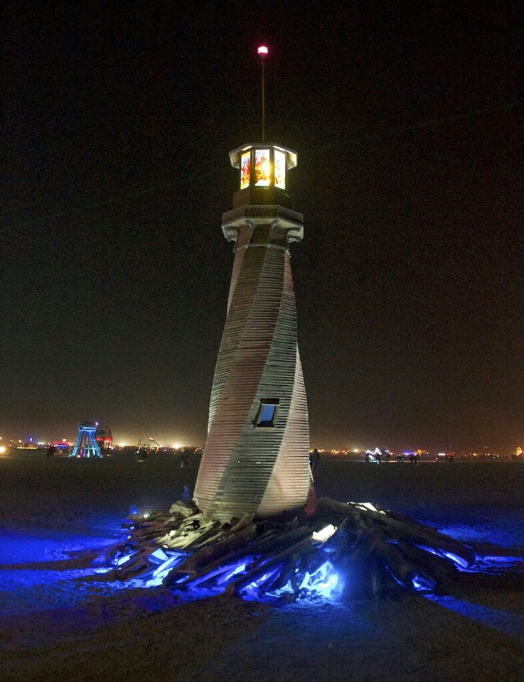 WoodLab Designs Lighthouse Fire Sculpture at Burning Man