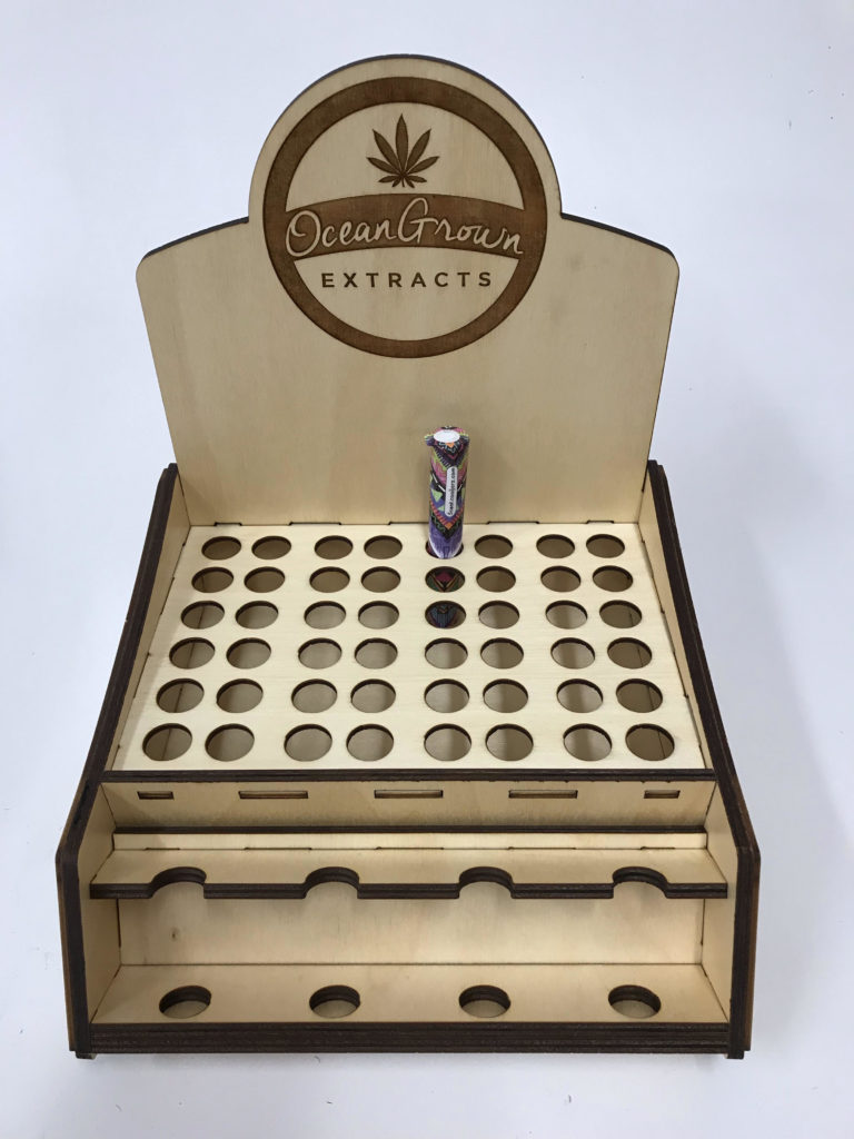 WoodLab Designs Four Flavor Flower Pre-Roll Prototype Wood Cannabis Display for Ocean Grown Extracts