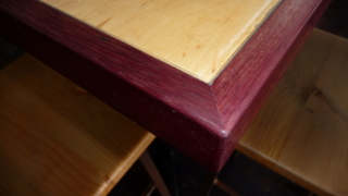 Close up view custom wine bar table top